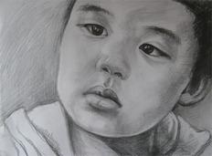 铅笔素描   儿童头像一张