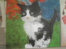 手绘动物小猫红色花朵油画