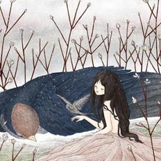 鸟类的羽毛系列少女插画设计