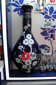 博物馆彩绘3D立体画——仿真青花瓷酒瓶